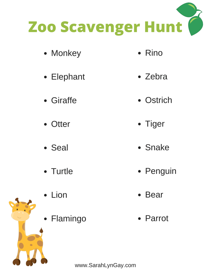 image about Zoo Scavenger Hunt Printable known as My Zoo Scavenger Hunt No cost Printable - Sarah Lyn Homosexual