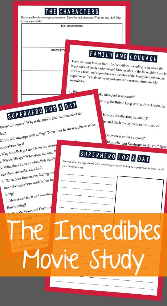 Incredibles Movie Free Printable Lesson Pack