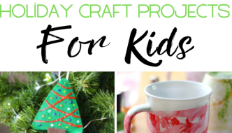 Fun different Holiday Craft Ideas for Kids pictured like nailpolish marble mugs, scented tree ornaments and more