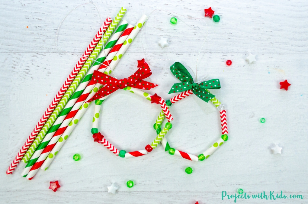 simple wreath made from paper straws