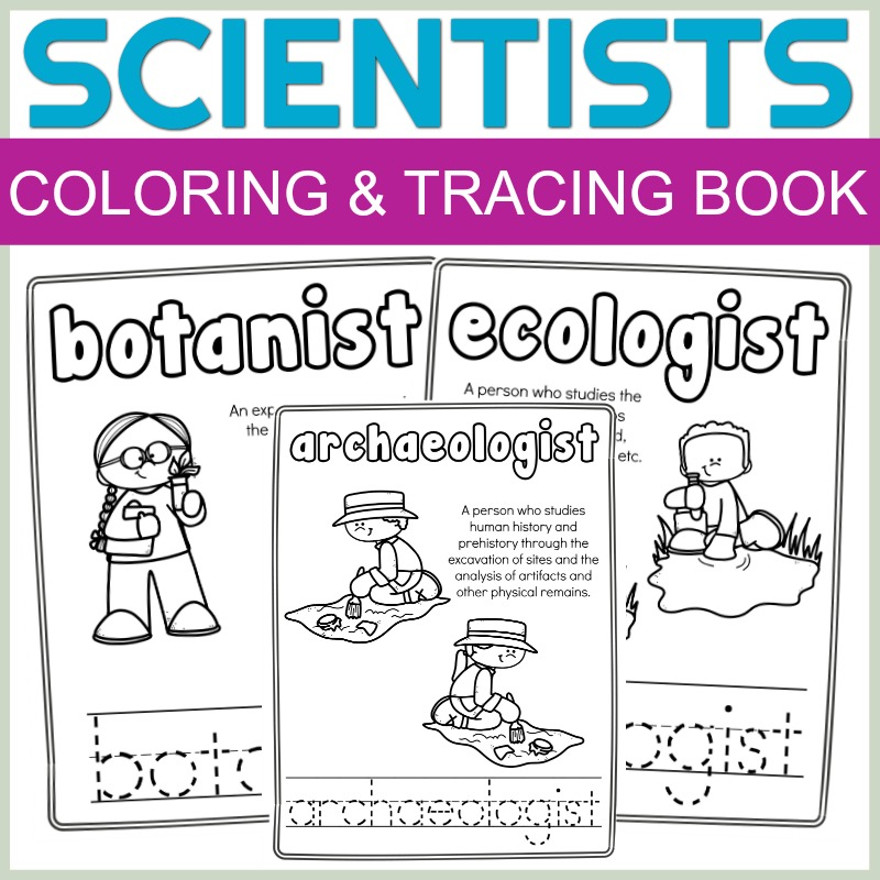 FREE Scientists Color and Letter tracing Book article cover image