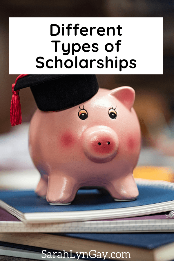 Different Types of Scholarships article cover image with a piggy bank wearing a graduation cap