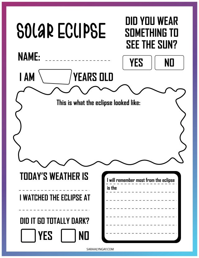 All About A Solar Eclipse viewing worksheet
