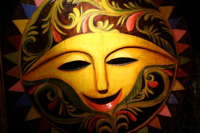 Sun mask, KaLui Restaurant, Puerto Princesa, Palawan, Philippines