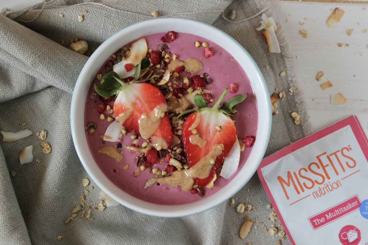 Frozen Berry & Rose Protein Smoothie Bowl