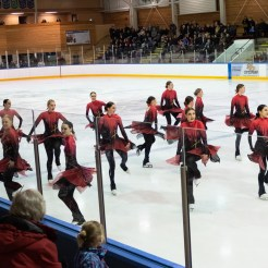 synchronized skaters spinning