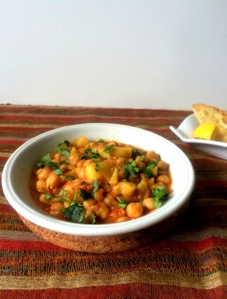 Aaloo Chholay or Potato and Chickpea Curry