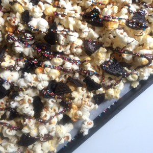 Stovetop Kettle Corn with a Chocolate Drizzle, Oreos and Sprinkles