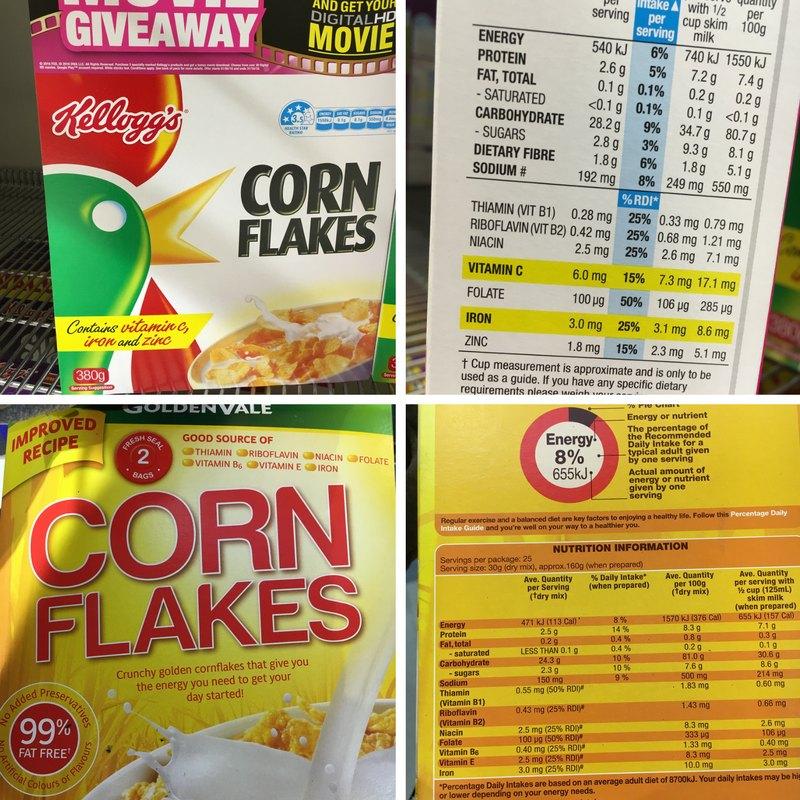 Kellogg's cornflakes vs Aldi corn flakes