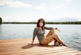 Newsweek Photo Shoot - Sarah posing at end of dock on Lake Lucille