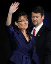 Todd and Sarah in Phoenix on election night - Sarah waving bravely