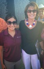 Sarah poses with young supporter at Buckeye AZ event