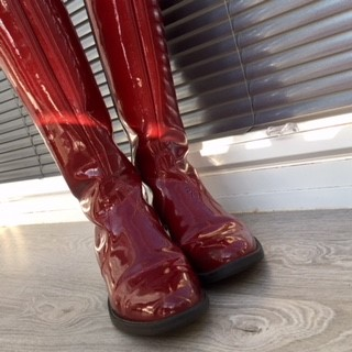 Burgundy Patent Boots