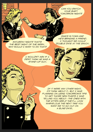 This photo shows page 64 of Stony Road, a graphic novel by Rick Stromoski and Sarah Pascarella