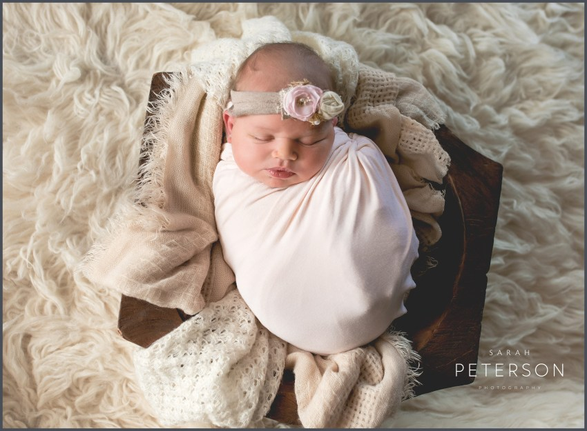 Newborn Baby wrapped in a pink blanket in a wooden bowl