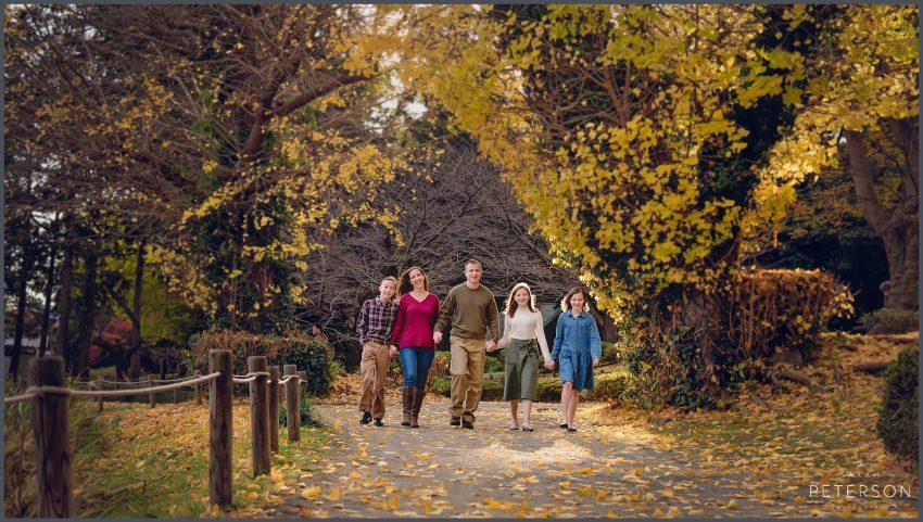 Family walking in a Japanese garden