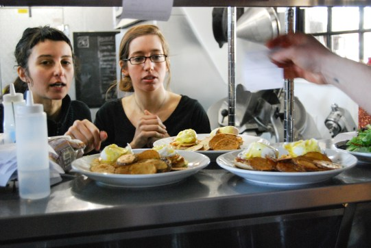 Breakfast orders ready from the kitchen at Bread & Butter in Amherst.