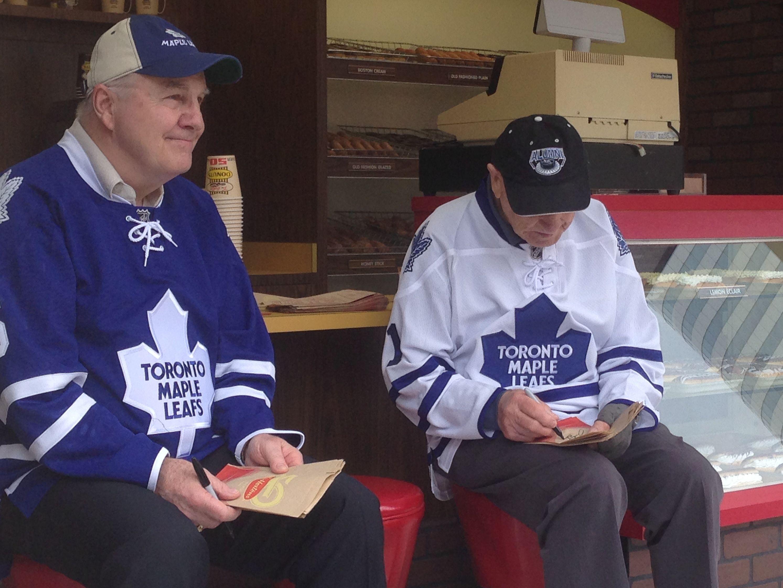 buy popular e6b12 1348d Tim Hortons Toronto Maple Leafs Johnny Bower and Ron Ellis ...
