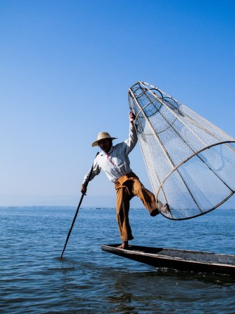 Traditional fishing on Inle Lake