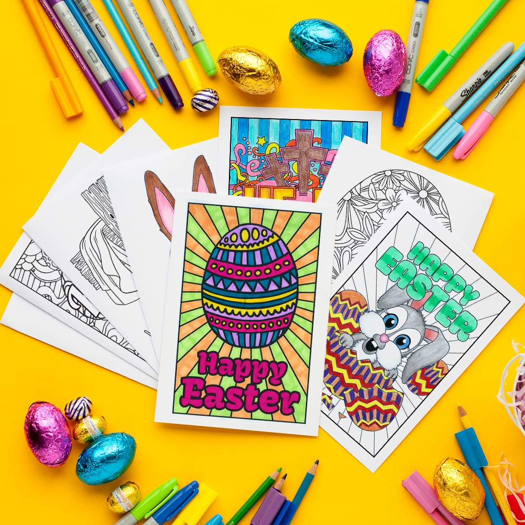 Easter Coloring Cards Set Of 10
