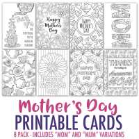 Mother's Day Coloring Cards   8 Pack - Sarah Renae Clark ...