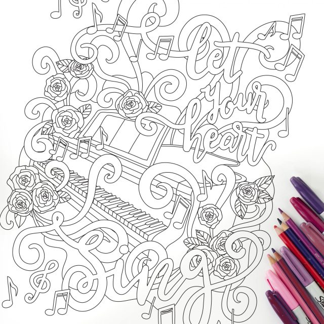 Let Your Heart Sing - Coloring Page