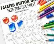 Free printable Gemstone coloring practice sheet