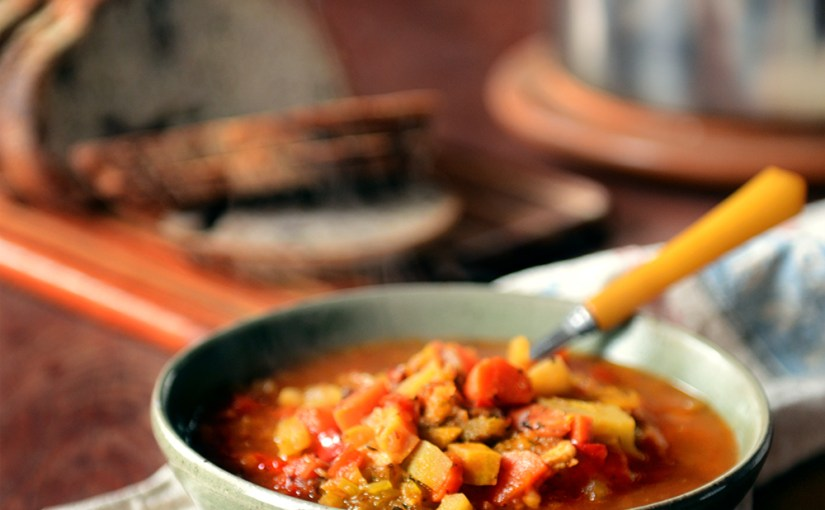 Reposted From With The Grains : A Plentiful Pot of Roasted Tomato & Root Vegetable Soup ( This is a Redo from March).