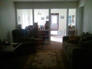 You can see all the way thru the house as you walk in the front door. See ll the light coming from the French doors.