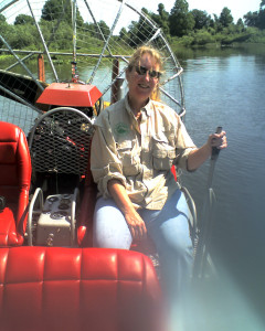 Learning how to drive an airboat.