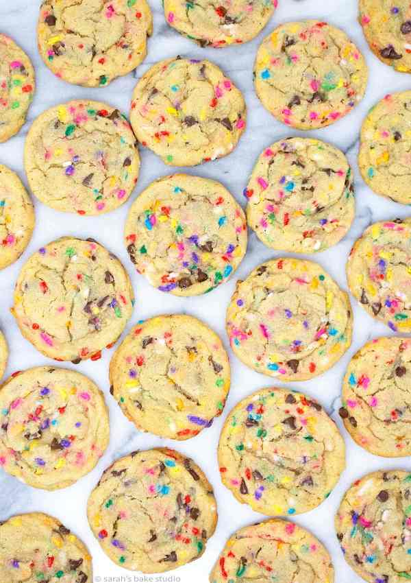 Chocolate Chip Cake Batter Cookies - gorgeous, sprinkle-filled, soft and chewy chocolate chip cookies with a cake batter twist make these delightful cookies out-of-this-world DELICIOUS!!