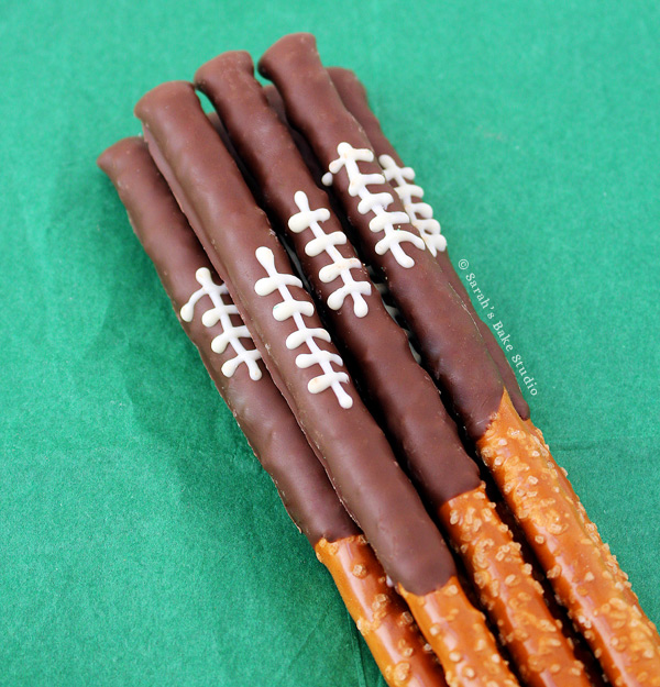 Chocolate Football Pretzel Rods