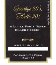 Roaring 20s Dirty 30 Invitation - Back
