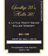 Roaring 20s Dirty 30 Invitation - Back