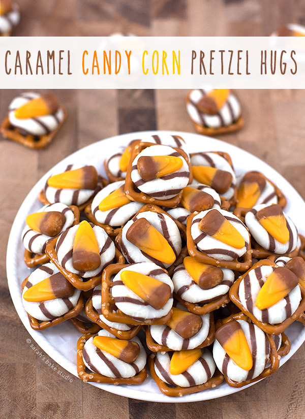 Caramel Candy Corn Pretzel Hugs – a quick, stress-free, three ingredient sweet and salty Halloween treat!