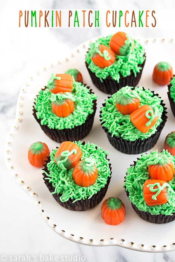 Pumpkin Patch Cupcakes – decorate your favorite chocolate cupcakes with an easy fall ensemble, candy pumpkins in a pumpkin patch; these adorably fun cupcakes are perfect for Halloween too!