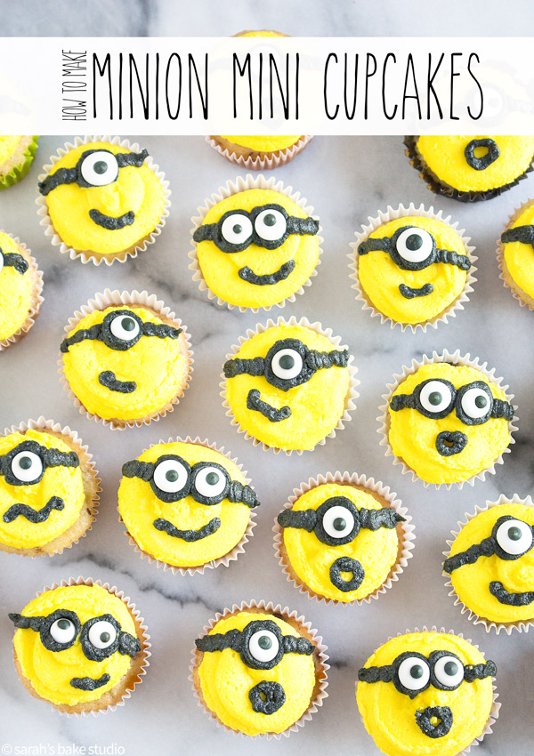 Minion Mini Cupcakes – your favorite mini cupcakes dressed up in buttercream as your favorite Minion!