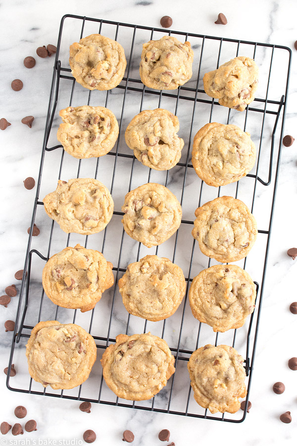 A classic favorite, Milk Chocolate Chip Walnut Cookies are loaded with milk chocolate chips and walnuts; they're made with butter and shortening creating a soft, chewy, and crisp cookie with a lot of texture and flavor!