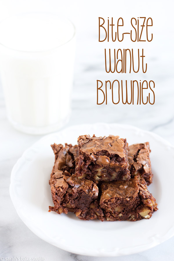 Bite-Size Walnut Brownies – stress-free, homemade brownies that have the perfect amount of cakey, chewy, chocolatey, fudgy, and chopped walnuts; it's the complete package in homemade brownies.