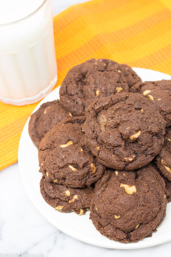 Chocolate Peanut Butter Chip Cookies #Choctoberfest – a soft and chewy, double chocolate fudge cookie loaded with Reese's peanut butter chips; it's pure chocolate and peanut butter satisfaction.
