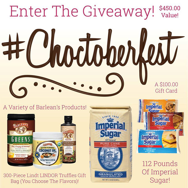 Happy #Choctoberfest 2017 – a sweet week jam-packed with 200+ chocolate recipes brought to you by 70+ bloggers and some awesome sponsors, plus a #Choctoberfest prize pack giveaway.
