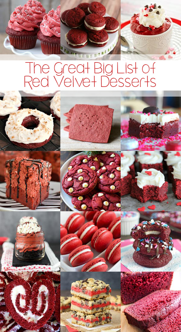 The Great Big List of Red Velvet Desserts - a sweet collection of 90 gorgeous and taste bud tantalizing red velvet dessert recipes from your favorite bloggers; red velvet enthusiasts great big list MUST.