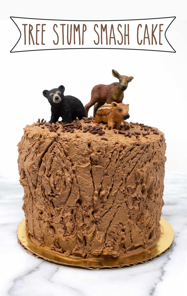 Tree Stump Smash Cake - no woodland creatures first birthday celebration would be complete without it.