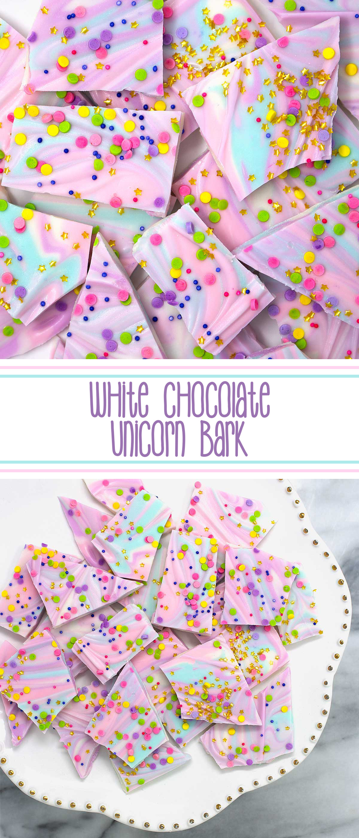 White Chocolate Unicorn Bark - colorful, melted white chocolate swirled together and topped with copious amounts of sprinkles make this unicorn inspired white chocolate magnificent fun and magically delicious. #whitechocolateunicornbark #unicornbark #unicornwhitechocolate #unicornchocolate #sprinkles #unicornbarkrecipe