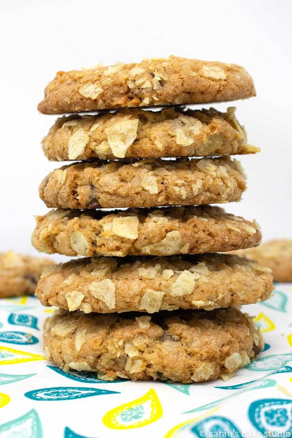 Potato Chip Chocolate Chip Cookies with Caramel Chips - magnificent sweet and salty cookies, triple stuffed with potato chips, chocolate chips, and caramel chips makes these salty-sweet cookies, pure perfection.