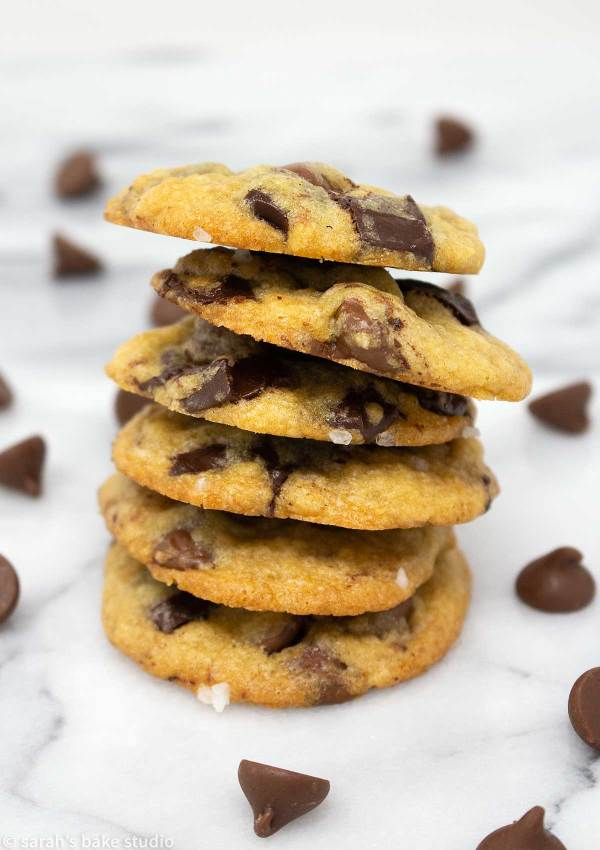 Salted Chocolate Chip Cookies - a delicious sweet and salty twist to soft and chewy chocolate chip cookies with the addition of both milk and dark chocolate chips and sea salt. #OXOBetter #OXOGoodCookies