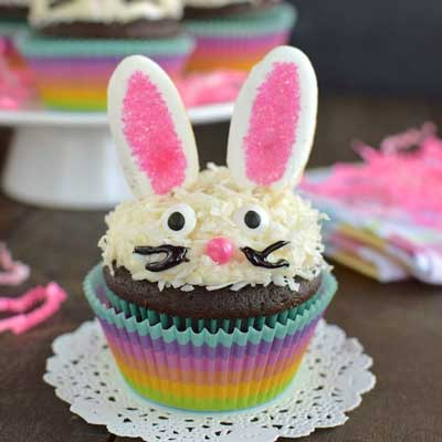 Chocolate Coconut Bunny Cupcakes from Inside BruCrew Life