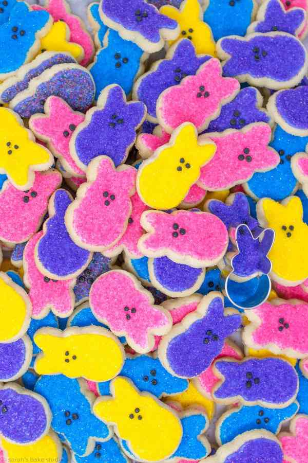 PEEPS Easter Bunny Sugar Cookies - super adorable, mini PEEPS bunny cutout sugar cookies, decorated with royal icing and colorful sanding sugar; the perfect Easter Bunny cookies for your Easter celebration.