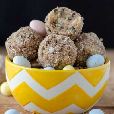 Chocolate Chip Mini Egg Cookie Dough Bites from Fresh April Flours