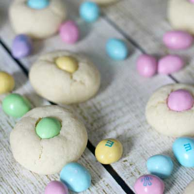 Easter M&M Thumbprint Cookies from Baking Beauty